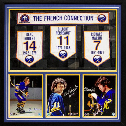 Buffalo Sabres Robert, Perreault & Martin Signed French Connection 34x34 Banner Frame