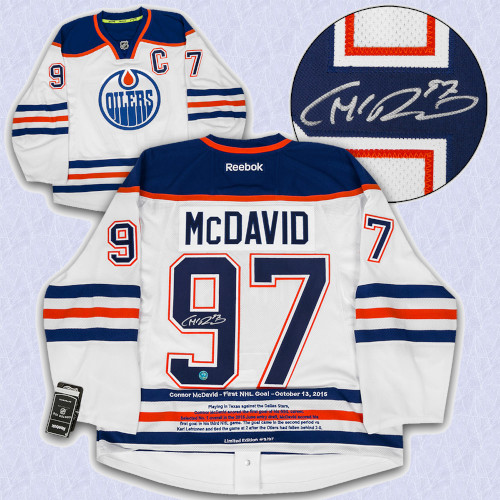 Connor McDavid Edmonton Oilers Signed Reebok Authentic 1st NHL Goal Jersey #/97