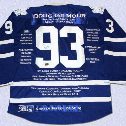 Doug Gilmour Toronto Maple Leafs Autographed Career Stats Hockey Jersey LE/193