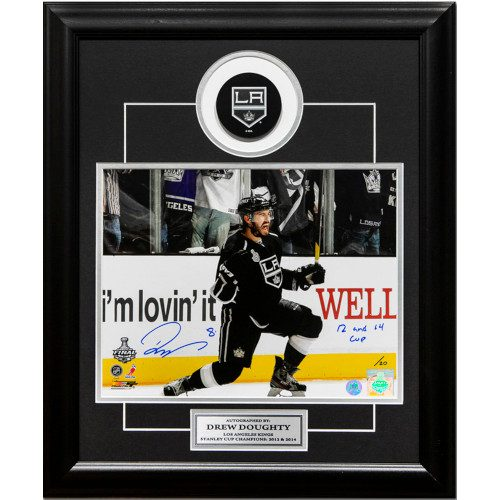 Drew Doughty L.A. Kings Signed & Inscribed 2 x Stanley Cup 19x23 Puck Frame #/20