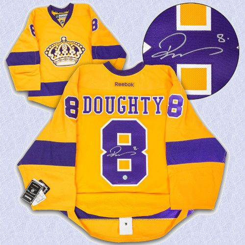Drew Doughty Los Angeles Kings Signed Yellow Alt Reebok Authentic Hockey Jersey