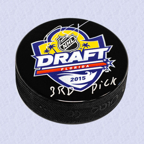 Dylan Strome 2015 NHL Draft Day Autographed Hockey Puck with 3rd Pick Note