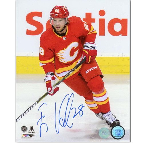 Elias Lindholm Calgary Flames Autographed Action 8x10 Photo