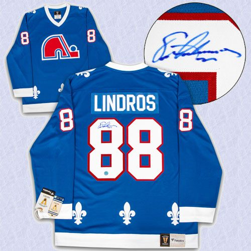Eric Lindros Quebec Nordiques Autographed Fanatics Vintage Hockey Jersey