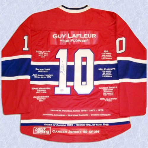 Guy Lafleur Montreal Canadiens Autographed Career Stats Hockey Jersey LE/299