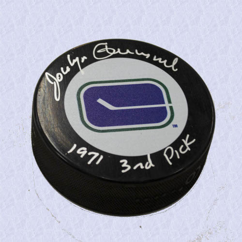 Jocelyn Guevremont Vancouver Canucks Signed Hockey Puck with 1971 3rd Pick Note