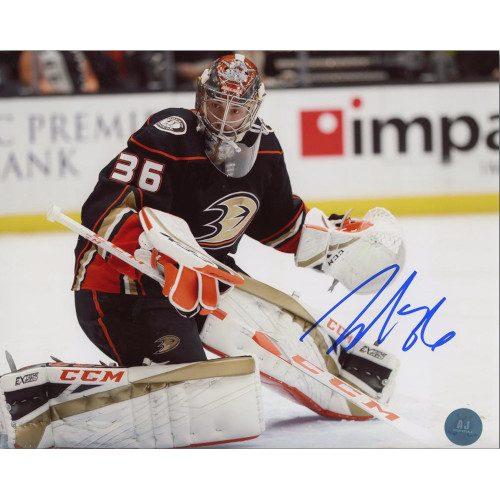 John Gibson Anaheim Ducks Autographed Goalie Action 8x10 Photo
