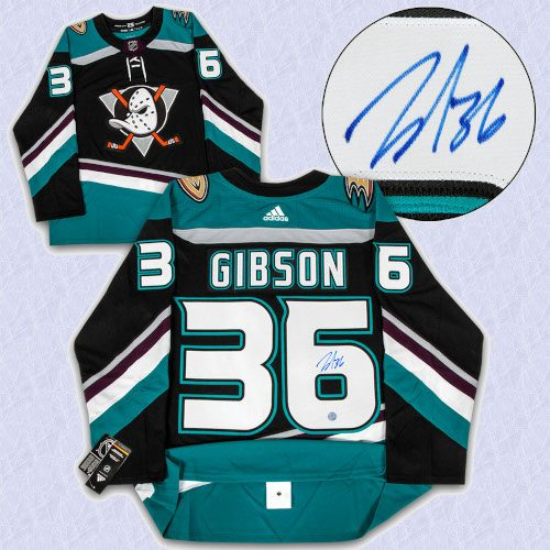 John Gibson Anaheim Mighty Ducks Signed Alt Retro Adidas Authentic Hockey Jersey