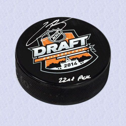 Kasperi Kapanen 2014 NHL Draft Day Autographed Puck with 22nd Pick Inscription