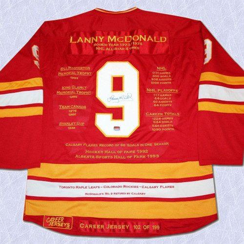 Lanny McDonald Calgary Flames Autographed Career Stats Hockey Jersey LE/199