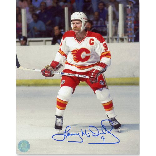 Lanny McDonald Calgary Flames Autographed Saddledome Action 8x10 Photo