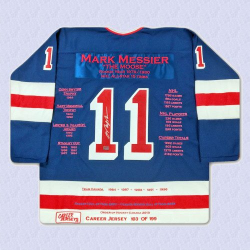 Mark Messier New York Rangers Autographed Career Stats Hockey Jersey LE/199