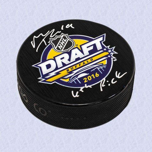 Matthew Tkachuk 2016 NHL Draft Puck Autographed with 6th Pick Note