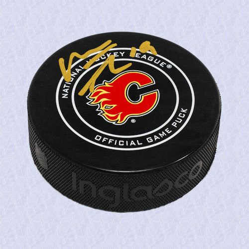 Matthew Tkachuk Calgary Flames Autographed Game Model Hockey Puck