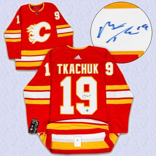 Matthew Tkachuk Calgary Flames Signed Retro Alt Adidas Authentic Hockey Jersey