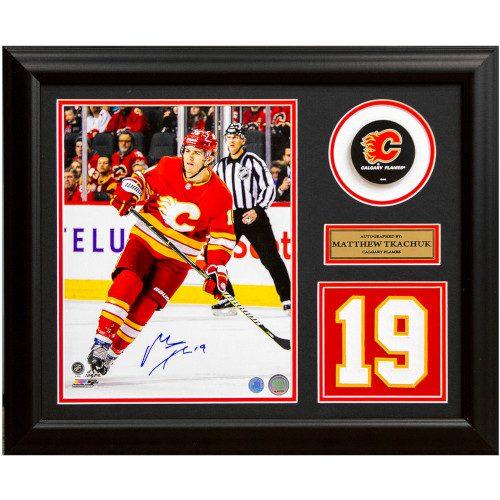 Matthew Tkachuk Calgary Flames Signed Retro Franchise Jersey Number 19x23 Frame