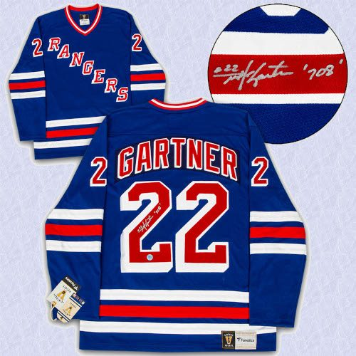 Mike Gartner New York Rangers Autographed Fanatics Vintage Hockey Jersey