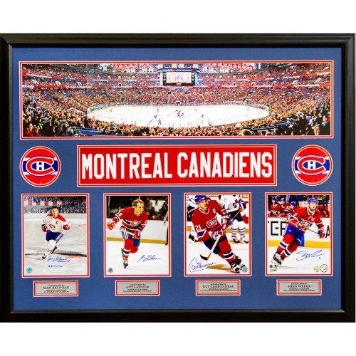 Montreal Canadiens Beliveau, Lafleur, Carbonneau & Weber Signed Panoramic 44x35 Frame