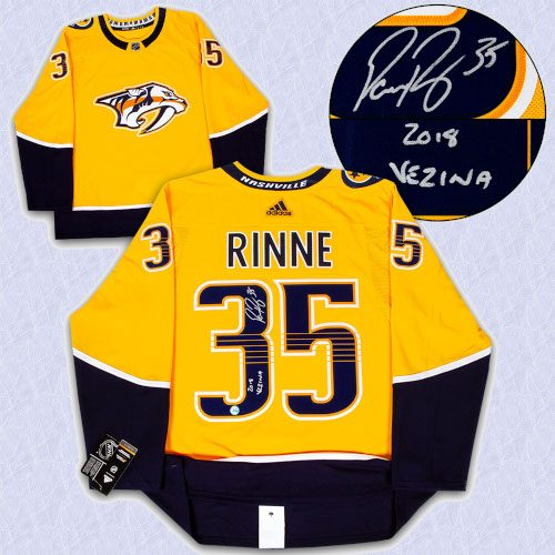Pekka Rinne Nashville Predators Signed Adidas Authentic Jersey with 2018 Vezina