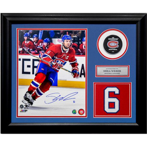 Shea Weber Montreal Canadiens Autographed Jersey Number 23x19 Frame