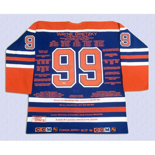 Wayne Gretzky Edmonton Oilers Autographed Career Stats Hockey Jersey LE/99