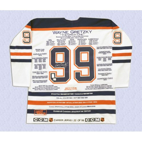 Wayne Gretzky Edmonton Oilers Autographed White Career Stats Hockey Jersey LE/99