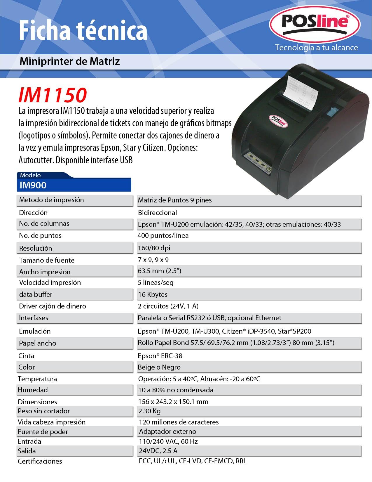 IM1150 CARACTERISTICAS