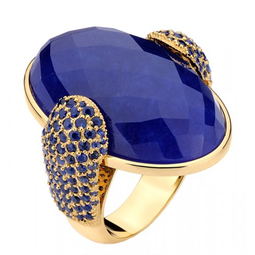 Blue Jade And Blue Sapphire Ring. 18K Gold ring with faceted blue jade and 1.88tcw blue sapphires. Center stone measures 31mm in length and 26mm in width.