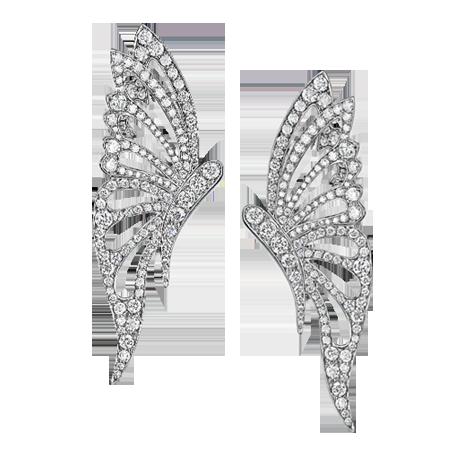 Butterfly stud earrings set with diamonds (35mm butterflies) Diamond weight 1.90ct