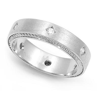 Bezel set Diamond Semi Eternity Cord Design Ring (1/7 ct.) 14K White Gold