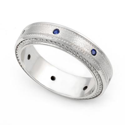 Bezel set Blue Sapphire Semi Eternity Cord Design Ring 14K White Gold