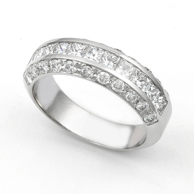 Channel and Pav' set Diamond Half Eternity Ring (1 1/3 ct.) 14K White Gold