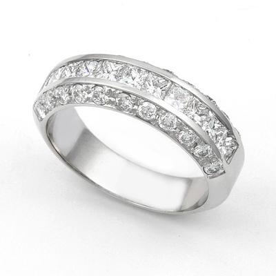 Channel and Pav' set Diamond Half Eternity Ring (1 1/3 ct.) 14K White Gold
