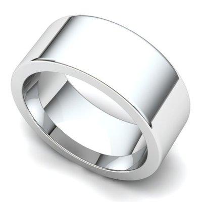 Flat Wedding Ring 8mm 14K White Gold