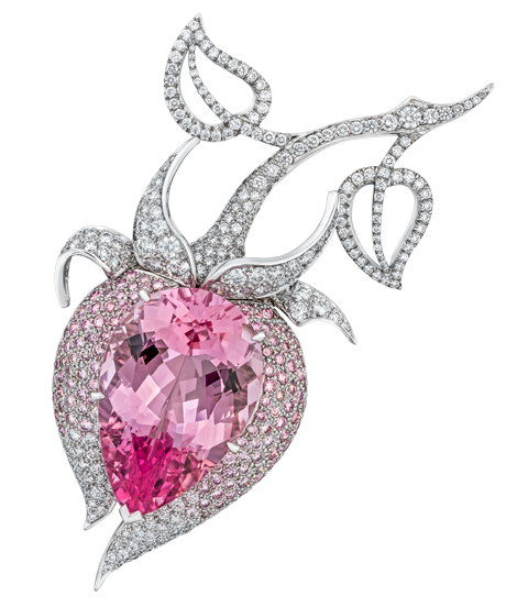 18.91ct Morganite and pink diamond Damask Brooch. Total diamond weight: 1.53ct