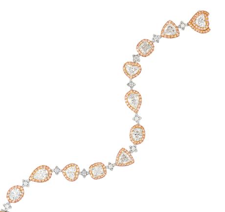 Fancy shapes White and pink Diamond bracelet