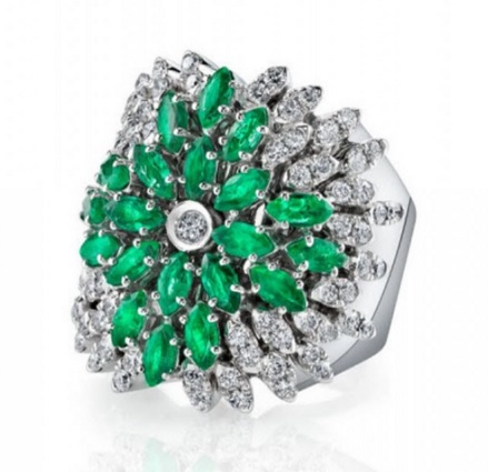 Extase Ring. This gorgeous 18k white gold ring makes a statement with the contrast between the white diamonds and emeralds. A great piece for a unique occasion.