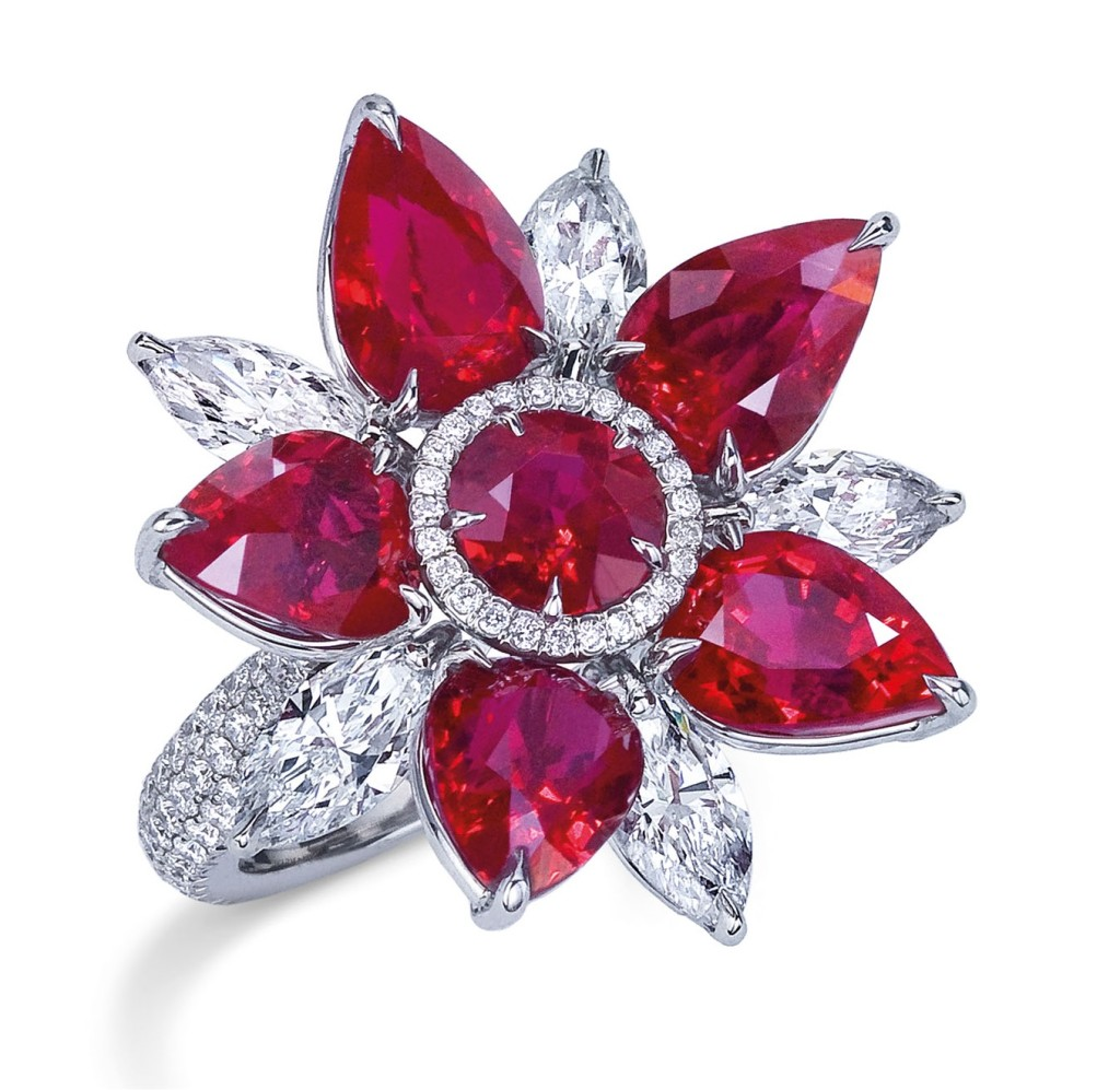 Mixed cut ruby and diamond ring
