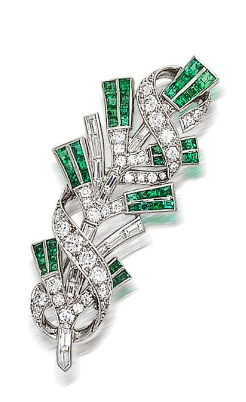 A diamond and emerald brooch, Tiffany & Co.