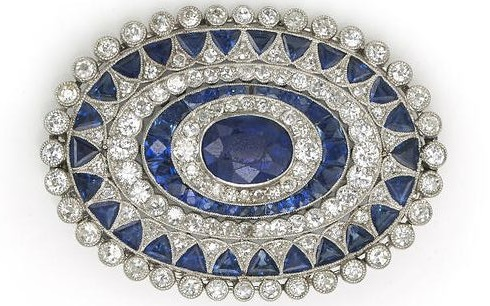 An art deco sapphire and diamond brooch, circa 1925