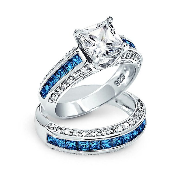 Bling Jewelry Simulated Sapphire Princess Cut Wedding Engagement Ring Set Sterling Silver