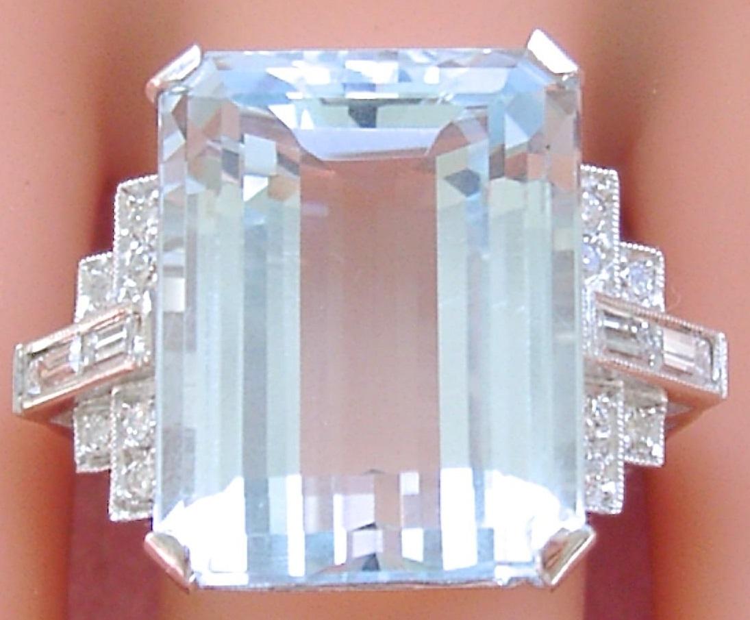 ESTATE ART DECO 25.96 CARAT AQUAMARINE .60ctw DIAMOND PLATINUM BIG COCKTAIL RING