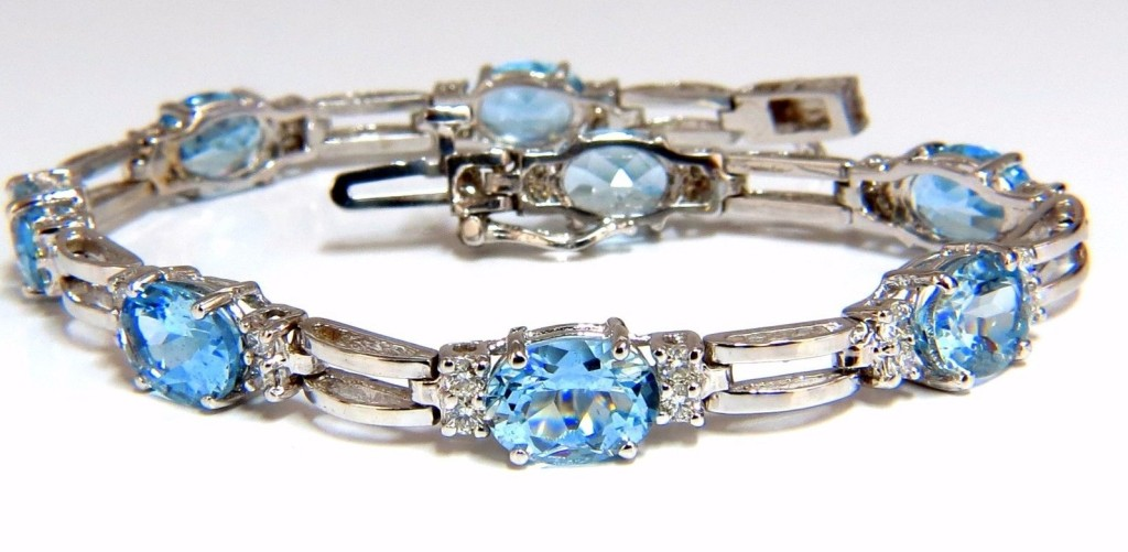 9.84 Ct natural aquamarine diamonds tennis bracelet 14kt vivid prime aqua blue
