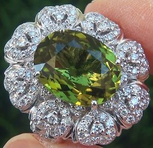 GIA 9.39 ct VVS1 Natural Chrome Green Tourmaline Diamond 18k White Gold Ring GEM PRIME Investment Grade Exotic VIVID Color Gem