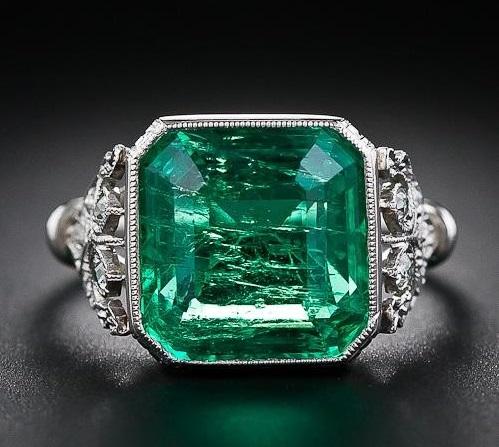 5.31 Carat Emerald and Edwardian Diamond Ring