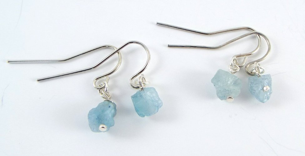 Raw Aquamarine Simple Earrings