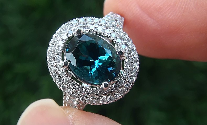GIA Cert 2.66 ct VVS Natural BLUE Tanzanite Diamond 14k White Gold Estate Ring
