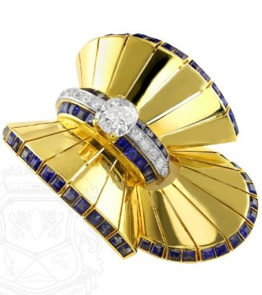 18K Yellow Gold, Diamond and Sapphire Clip Brooch, Van Cleef & Arpels, NY.