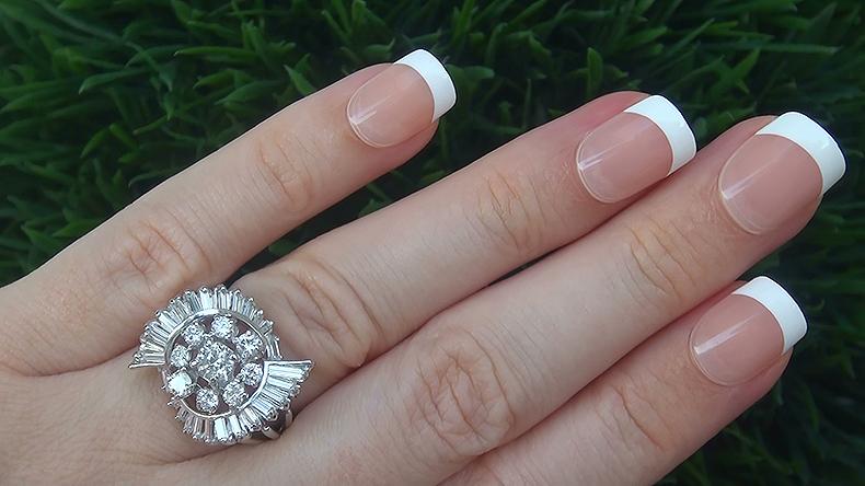 Estate 2.32 ct SI1/F Natural Diamond 14k White Gold Engagement Cocktail Ring