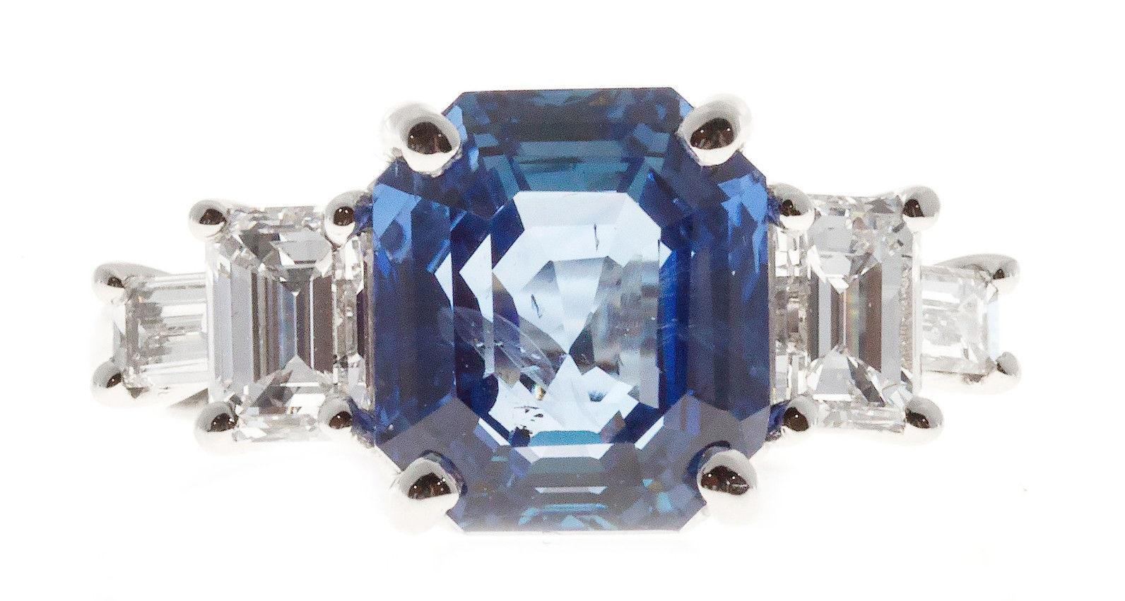 Peter Suchy Natural Emerald Cut Sapphire Diamond Engagement Ring Platinum
